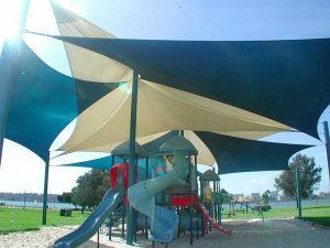 Shade Sails over childrens Playground